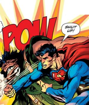 Superman punching a bad guy