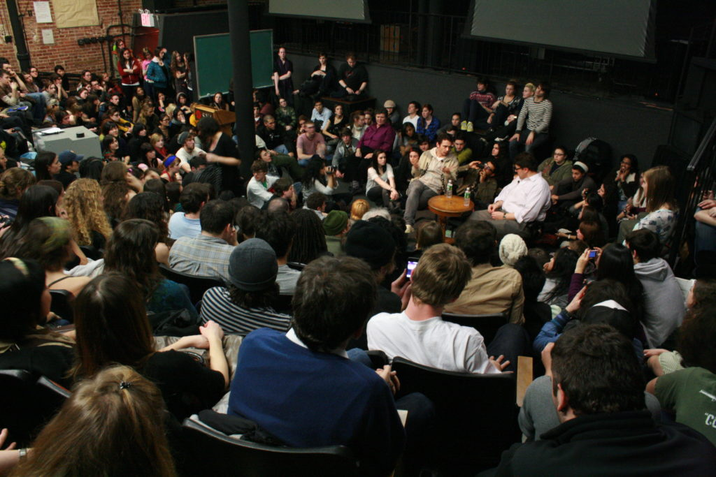 James Janowsky moderates a Q&A during his SVA film class with actor James Franco.