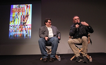 James Janowsky moderates a Q&A at the New York City Apple Store with Academy Award winning director Danny Boyle.