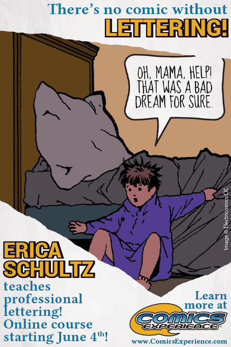 """There's no comic without Lettering! Erica Schultz teaches professional lettering! Online course starting June 4th. Learn more at Comics Experience.   Drawing of a small child in pajamas who fell out of bed and exclaims, """"Oh, Mama, Help! That was a bad dream for sure."""