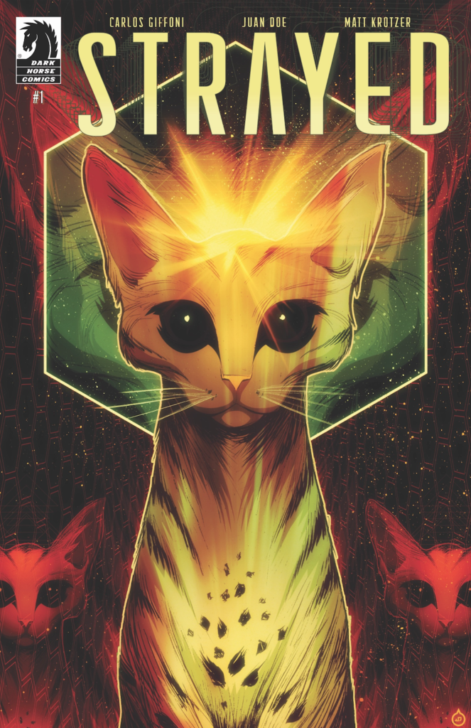 Strayed cover, featuring a cat astral projecting through a colorful galaxy.